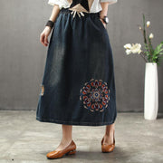 Denim Floral Embroidery A-Line Women Skirt
