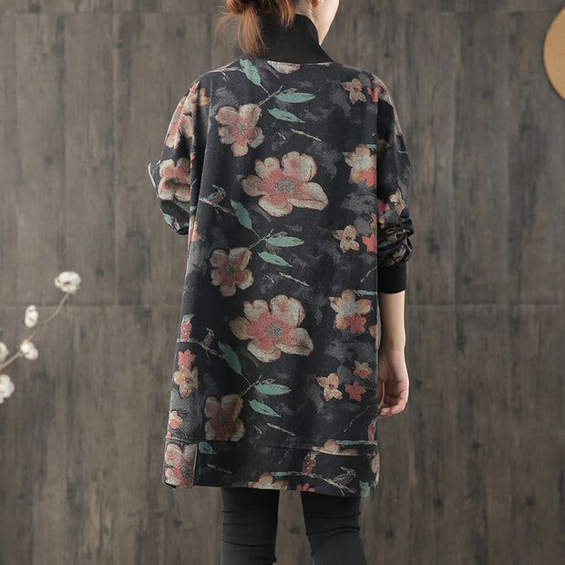 Buykud Casual Flower Print Turtleneck Pullover Sweatshirt