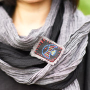 Buykud Crumple Solid Color Retro Casual Scarf