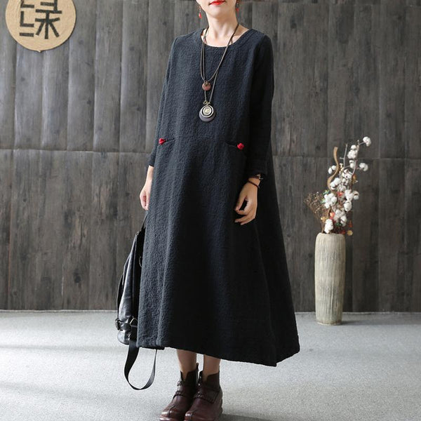A-line Long Sleeve Cotton Loose Retro Dress