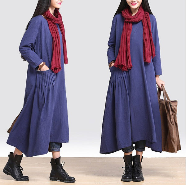 Dress - Casual Loose Fitting Cotton Linen Long Sleeve Dress