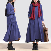 Casual loose fitting cotton linen long sleeve dress - Buykud