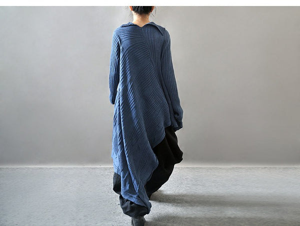 Dress - Casual Loose Long Sleeve Woolen Sweater Dress