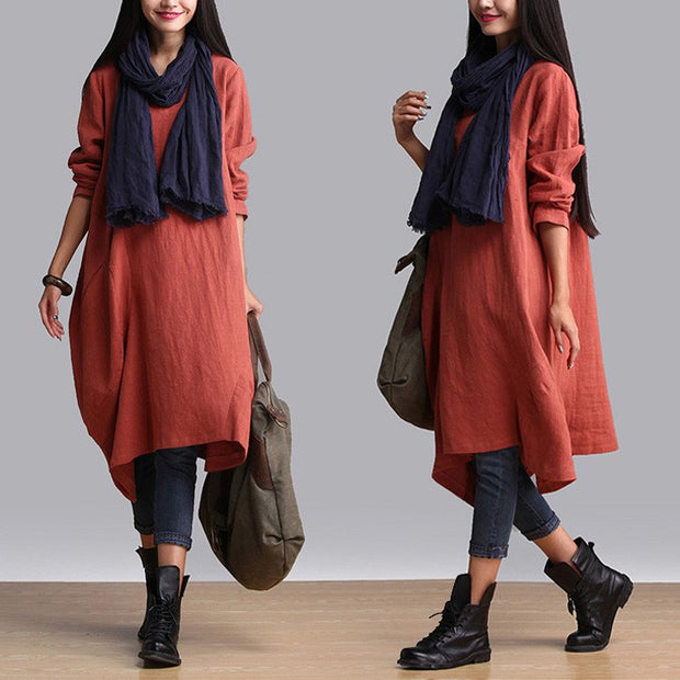 Cotton Linen Casual Loose Fitting Dress - Buykud