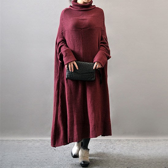 Dress - Long Sleeve Woolen Dress