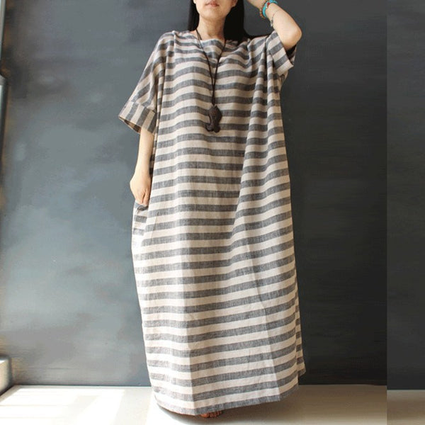 Dress - Loose Cotton Linen  Long Sleeve Dress