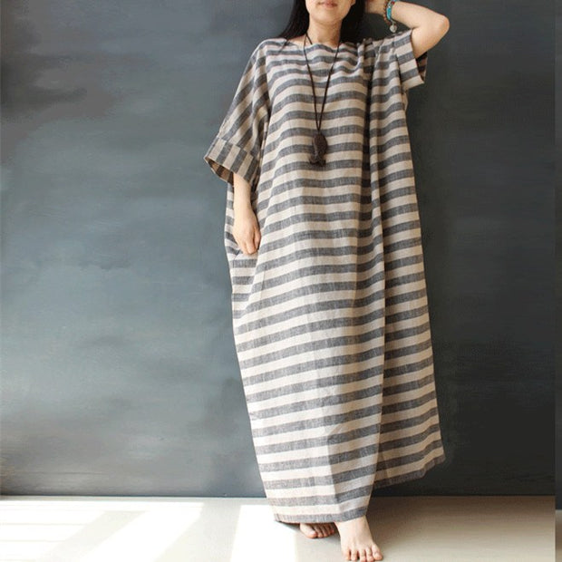 Loose cotton linen  long sleeve dress - Buykud
