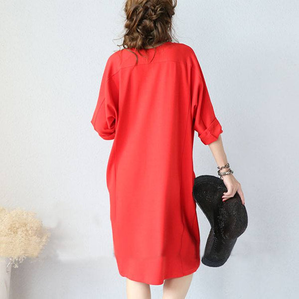 Dress - New Women 3/4 Sleeve Red Casual Pockets V Neck Loose Pullover Cotton Dresses
