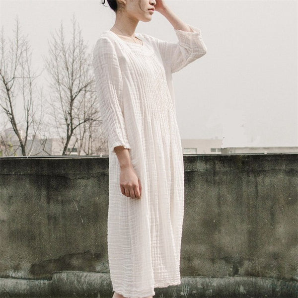 Dress - Women 100%cotton Loose Dress
