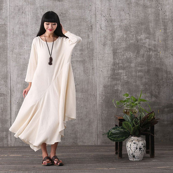 Dress - Women 3/4 Sleeve White Loose Pullover Cotton Plus Size Flounced Dress