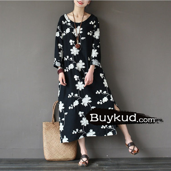 Dress - Women Black Cotton Embriodery  Dress