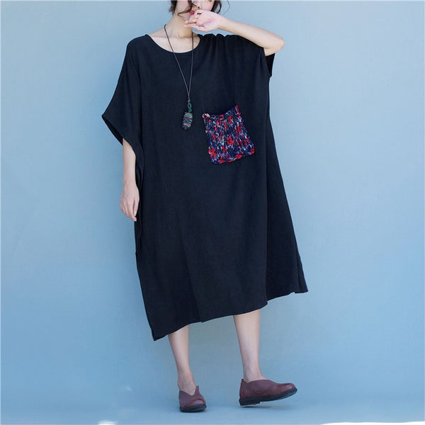 Dress - Women Black Linen Short Sleeve Dress