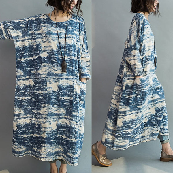Dress - Women Blue Batik Long Section Loose Stitching Sleeve Cotton Casual Dress