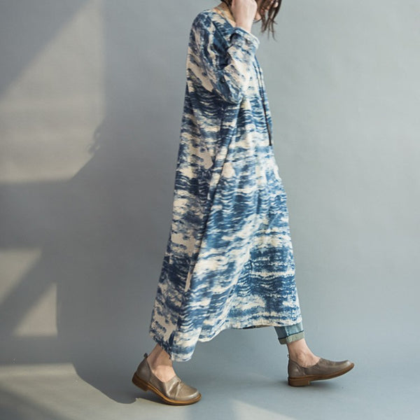 Women Blue batik long section loose stitching sleeve cotton casual dress - Buykud