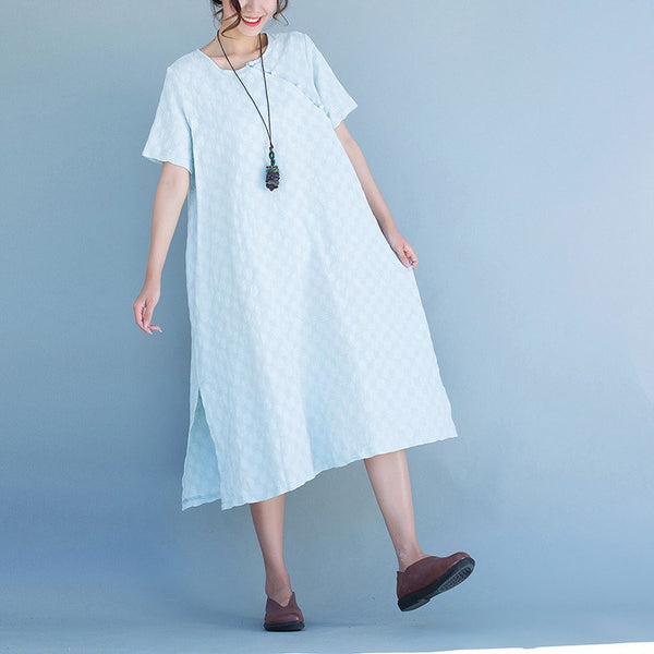 Women blue Round collar short sleeve dress - Buykud