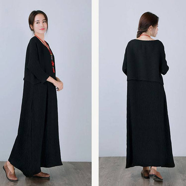 Dress - Women Casual Black Bat Sleeve Loose Pullover Polyester Dress