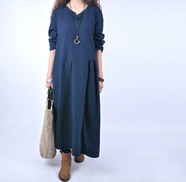 Women casual loose 100% linen maxi dress - Buykud