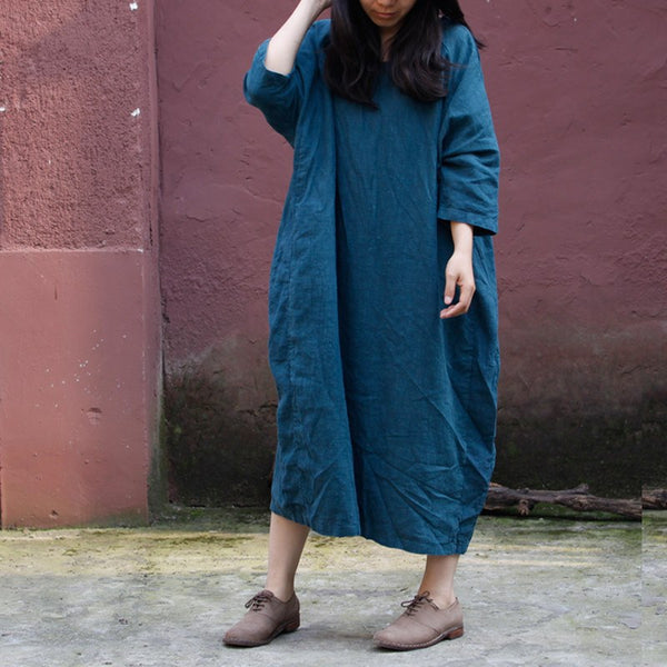 Dress - Women Casual Loose Fitting Cotton Linen Dress