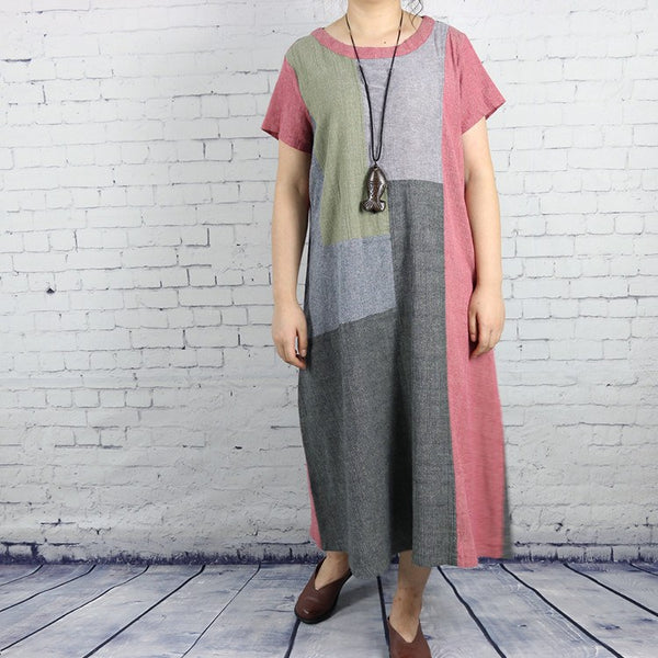 Women casual patchwork loose fitting cotton linen dress - Buykud