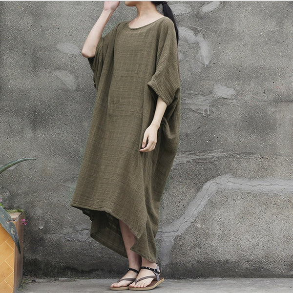 Dress - Women Cotton 1/2 Sleeve Loose Fitting Summer Dress