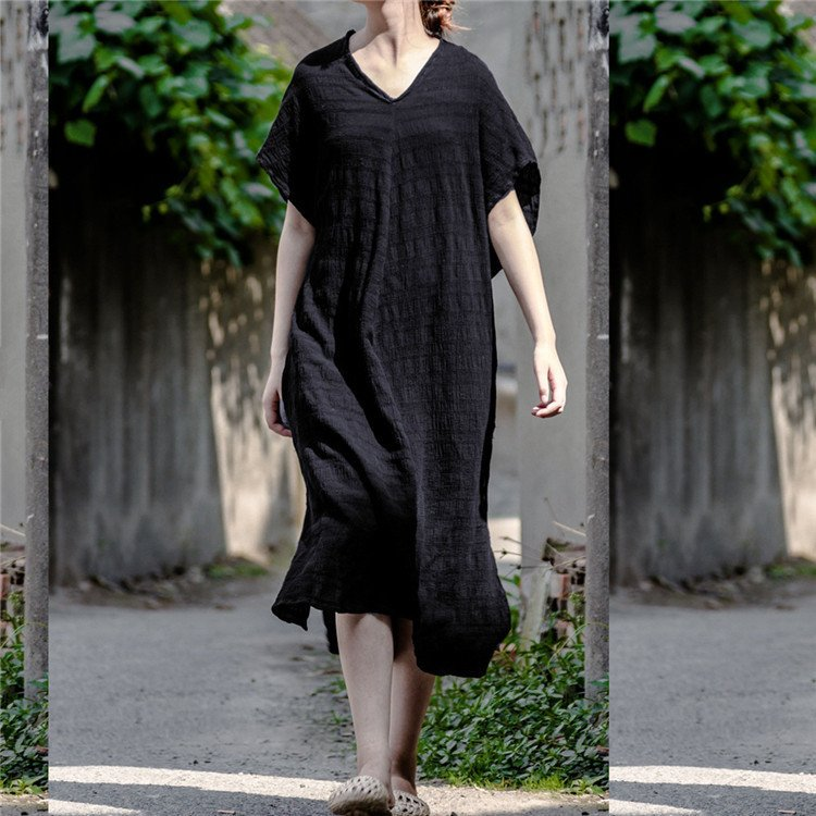 Women cotton casual loose dress - Buykud