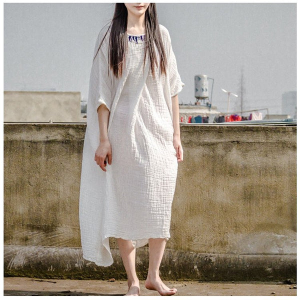 Dress - Women Cotton Embroidery Dress