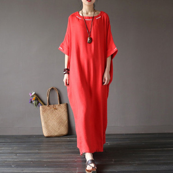 Women  cotton linen embriodery loose dress - Buykud