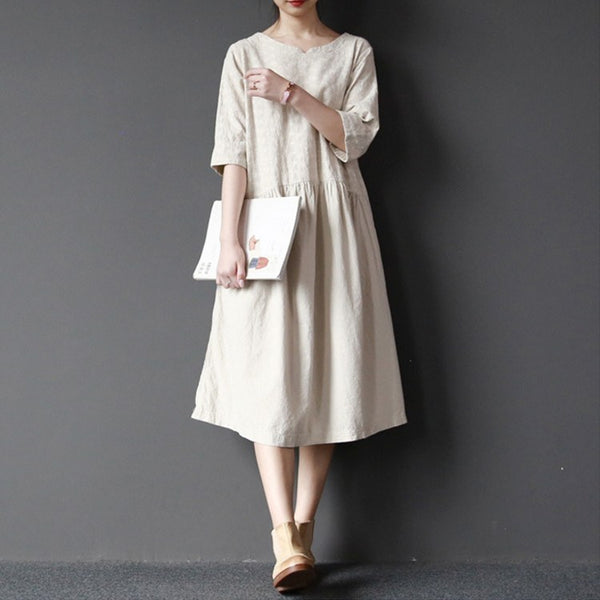Dress - Women  Cotton Linen Embroider Loose Dress