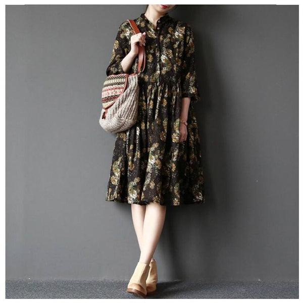 Dress - Women Cotton Linen Floral Loose Dress