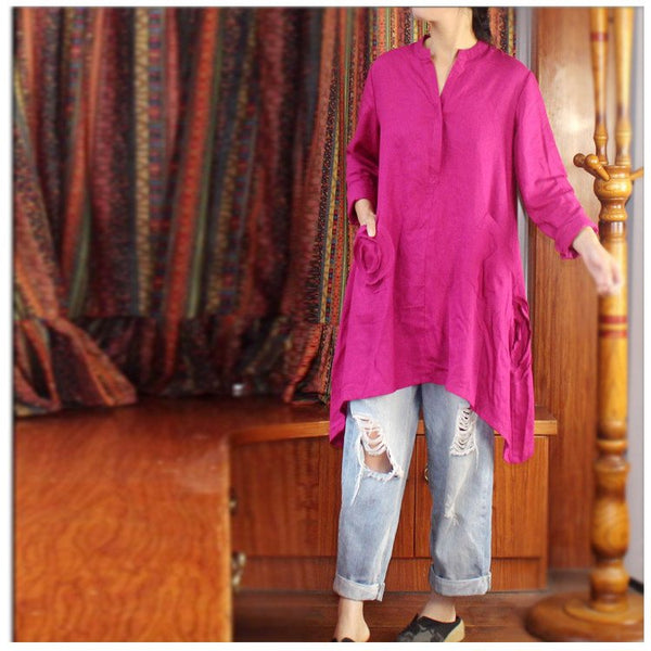 Dress - Women Cotton Linen  Irregular Loose Top Dress