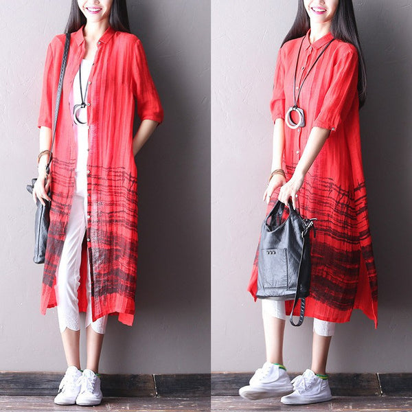 Dress - Women Cotton Linen Loose Cardigan Shirt Dress
