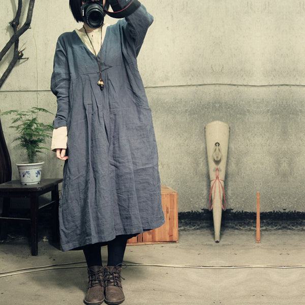 Dress - Women Cotton Linen Loose Dress