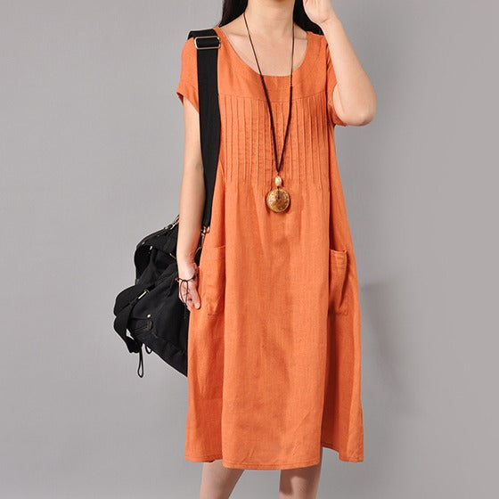 Dress - Women Cotton Linen Loose Fitting Dress
