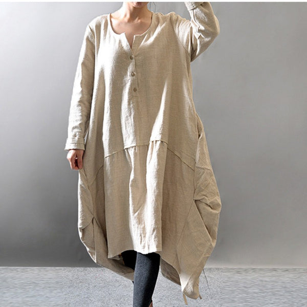 Dress - Women Cotton Linen Loose Fitting Loose Maxi Dress