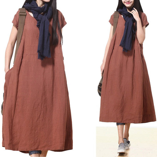 Women Cotton Linen Loose Fitting Short Sleeve Summer Maxi Dress - Buykud