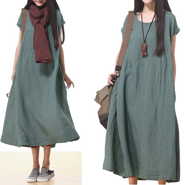 Dress - Women Cotton Linen Loose Fitting Short Sleeve Summer Maxi Dress