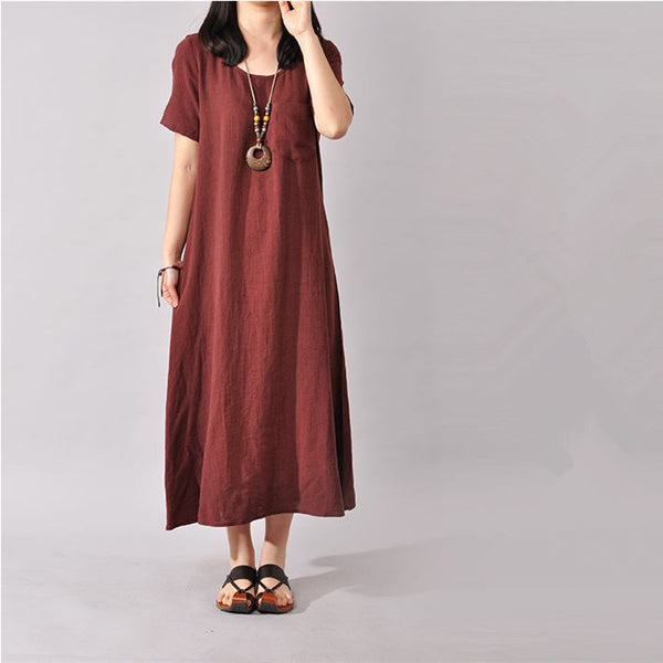 Dress - Women Cotton Linen Short Sleeve Dress