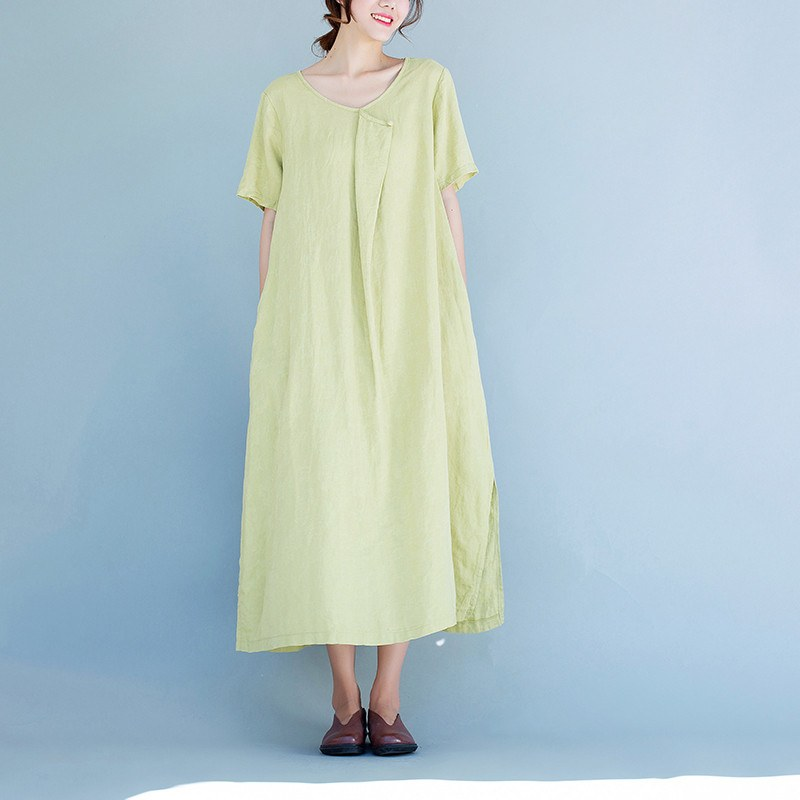 Women Cotton linen  short sleeve dress - Buykud