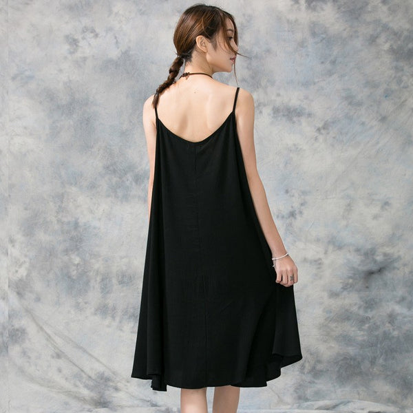 Dress - Women Cotton Linen Slip Dress(Wear Inner)
