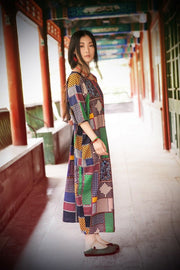Women cotton linen summer dress 3/4 sleeve - Buykud