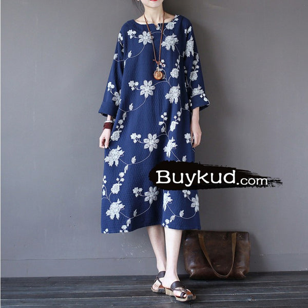 Women cotton long sleeve embriodery dress - Buykud