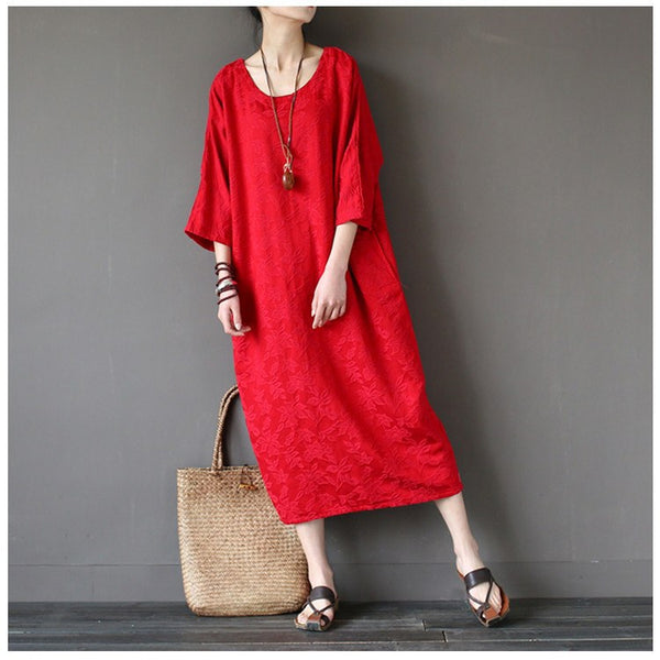 Women cotton vintage loose dress - Buykud