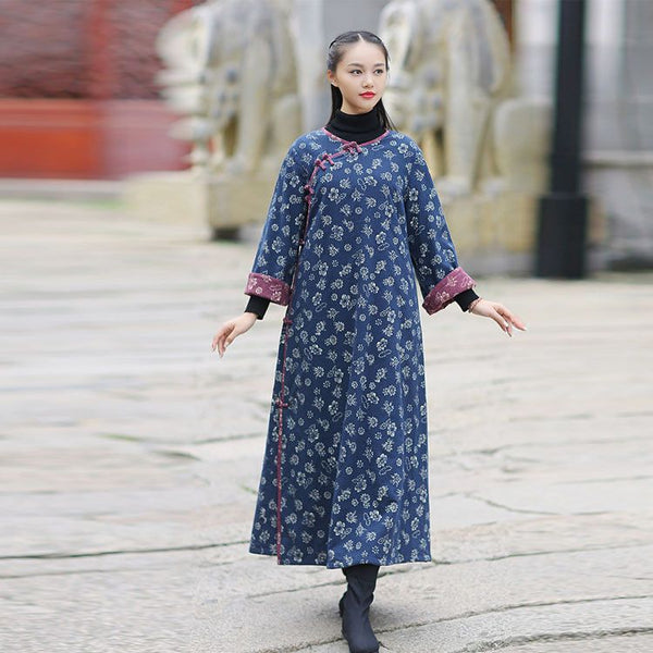 Dress - Women Ethnic Style Printing Cotton Linen Dress
