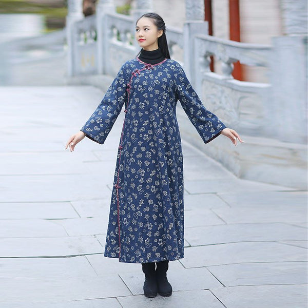 Women ethnic style printing cotton linen dress - Buykud