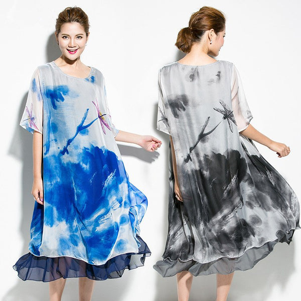 Dress - Women Ink Printed Short-sleeved Chiffon Dress