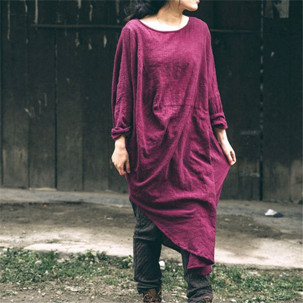 Women irregular vintage cotton linen dress - Buykud