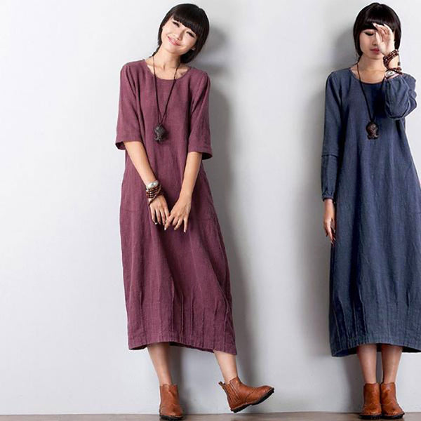 Women linen long sleeve dress - Buykud