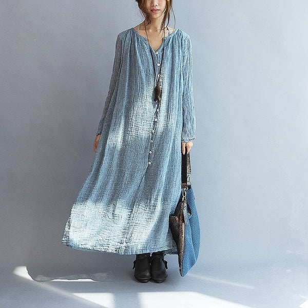 Dress - Women Linen Loose Maxi Dress Long Sleeve