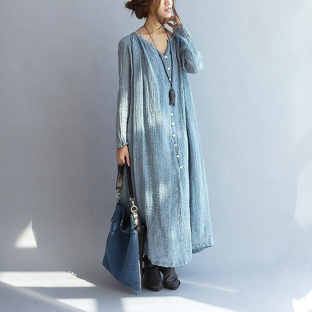 Women Linen Loose maxi dress long sleeve - Buykud