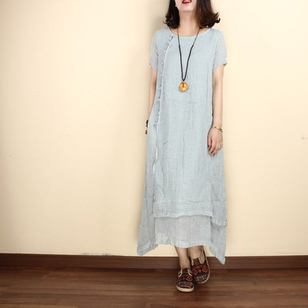 Women linen summer  short sleeve gown - Buykud